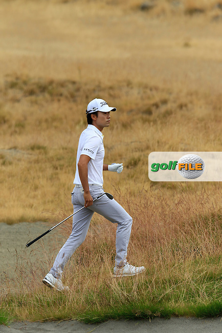 Kevin NA (USA) in the sand at the 17th green during Thursday's Round 1 of the 2015 U.S. Open 115th National Championship held at Chambers Bay, Seattle, Washington, USA. 6/18/2015.<br /> Picture: Golffile | Eoin Clarke<br /> <br /> <br /> <br /> <br /> All photo usage must carry mandatory copyright credit (&copy; Golffile | Eoin Clarke)