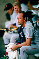 Bret Saberhagen of the Boston Red Sox during a game at Anaheim Stadium in Anaheim, California during the 1997 season.(Larry Goren/Four Seam Images)