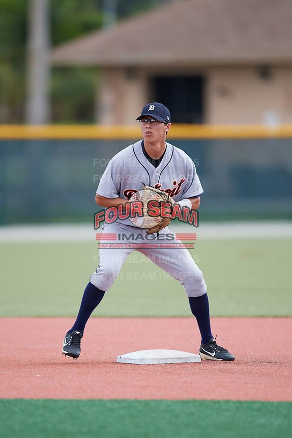 Detroit Tigers Cole Peterson (21) during practice before an Instructional League game against the Pittsburgh Pirates on October 6, 2017 at Pirate City in Bradenton, Florida.  (Mike Janes/Four Seam Images)