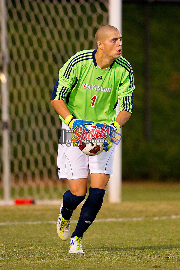 Chip Sanders #1 of the Davidson Wildcats in action against the Wake Forest Demon Deacons at Spry Soccer Stadium on September 28, 2011 in Winston-Salem, North Carolina.  The Demon Deacons defeated the Wildcats 4-1.  (Brian Westerholt / Sports On Film)