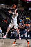 Elisa Penna (41) of the Wake Forest Demon Deacons grabs a rebound during second half action against the Virginia Cavaliers at the LJVM Coliseum on February 25, 2018 in Winston-Salem, North Carolina. The Cavaliers defeated the Demon Deacons 48-41.  (Brian Westerholt/Sports On Film)