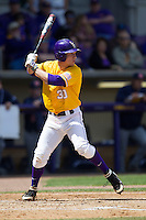 LSU Tigers shortstop Alex Bregman #30 at bat against the Auburn Tigers in the NCAA baseball game on March 24, 2013 at Alex Box Stadium in Baton Rouge, Louisiana. LSU defeated Auburn 5-1. (Andrew Woolley/Four Seam Images).