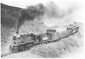 RGS 2-8-0 #74 with caboose, two gondolas and two coaches on a Rocky Mountain Railroad Club excursion.<br /> RGS    5/28/1949