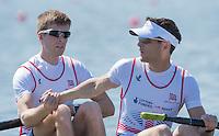 Brandenburg. GERMANY.GBR LM2-, Left Joel CASSELLS and Sam SCRIMGEOUR.<br /> 2016 European Rowing Championships at the Regattastrecke Beetzsee<br /> <br /> Friday  06/05/2016<br /> <br /> [Mandatory Credit; Peter SPURRIER/Intersport-images]