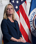United States Secretary of Homeland Security Kirstjen Nielsen participates in the U.S. Coast Guard Change-of-Command Ceremony on June 1, 2018 at the U.S. Coast Guard Headquarters in Washington, DC. <br /> Credit: Olivier Douliery / Pool via CNP
