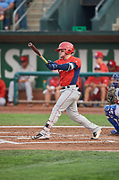 Connor Fitzsimons (14) of the Orem Owlz bats against the Ogden Raptors at Lindquist Field on August 4, 2018 in Ogden, Utah. The Owlz defeated the Raptors 15-12. (Stephen Smith/Four Seam Images)