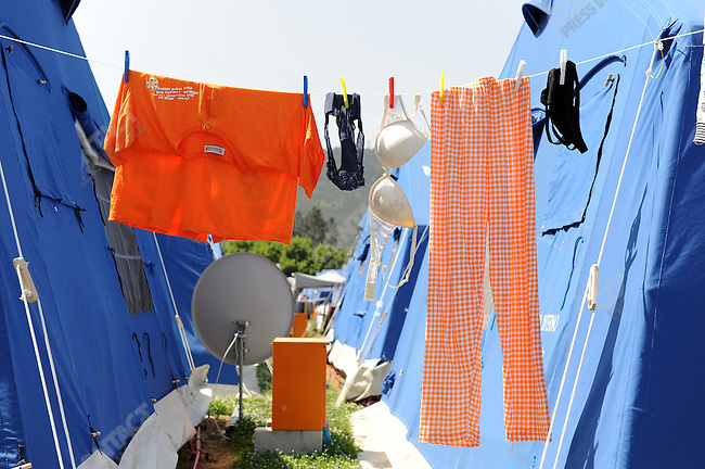 In the camp of piazza d'Armi in L'Aquila, where 1,300 people who lost their homes in the Abruzzo earthquake in April are now living in tents, laundry hung out to dry. May 22, 2009