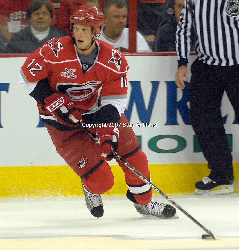 Carolina Hurricanes Eric Staal brings the puck up the ice against the Vancouver Canucks during their game Monday, Oct. 22, 2007 in Raleigh, NC. The Hurricanes won 3-1.