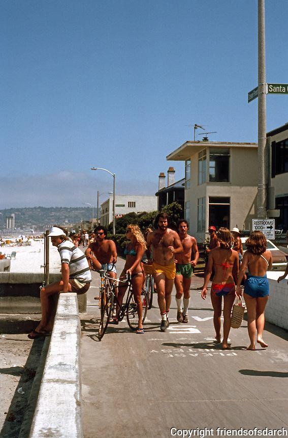 San Diego: Ocean Front Walk, Mission Beach.   (Photo 1982)