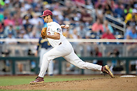 Florida State Seminoles pitcher Chase Haney (33) delivers a pitch to the plate during Game 6 of the NCAA College World Series against the Michigan Wolverines on June 17, 2019 at TD Ameritrade Park in Omaha, Nebraska. Michigan defeated Florida State 2-0. (Andrew Woolley/Four Seam Images)