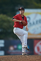 Kannapolis Intimidators starting pitcher Taylor Varnell (29) in action against the Lexington Legends at Kannapolis Intimidators Stadium on August 4, 2019 in Kannapolis, North Carolina. The Legends defeated the Intimidators 5-1. (Brian Westerholt/Four Seam Images)