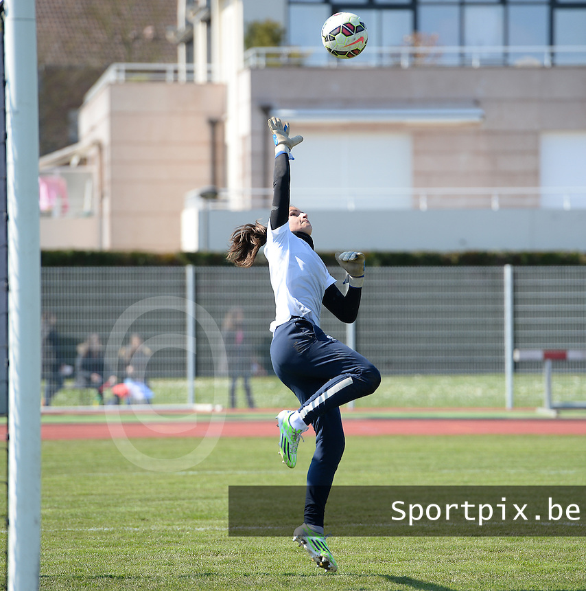 20150406 - OZOIR , FRANCE  : French goalkeeper Cindy Perrault  pictured during the soccer match between Women Under 19 teams of France and Romania , on the second matchday in group 3 of the UEFA Elite Round Women Under 19 at Stade des 3 Sapins , Ozoir La Ferriere , France . Monday 6th April 2015 . PHOTO DAVID CATRY