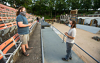 J.P. Dean (left) talks to director of operations Kent Butler, both of whom alternate in the role of Christ, Tuesday, May 19, 2020, during a rehearsal for the 2020 season at The Great Passion Play in Eureka Springs. The play will open their season Friday with adjustments for cast and audience members to stay within Arkansas Department of Health social distancing guidelines. Go to nwaonline.com/photos to see more photos.<br /> (NWA Democrat-Gazette/Ben Goff)