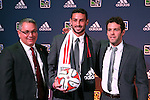 16 January 2014: Steve Birnbaum, with technical director Dave Kasper (left) and head coach Ben Olsen (right), was select by DC United with the second overall pick. The 2014 Major League Soccer SuperDraft was held at the NSCAA Annual Convention in the Pennsylvania Convention Center in Philadelphia, Pennsylvania.