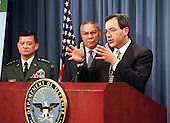 United States Secretary of the Army Louis Caldera unveils two new recruiting initiatives involving education options at a Pentagon press conference on February 3, 2000.  The programs are called College First and GED Plus, the Army's high school completion program.  Joining Caldera on stage and adding their support to the innovative programs are General Eric K. Shinseki (left), chief of staff of the Army, and retired US Army General Colin Powell (center), former chairman of the Joint Chiefs of Staff and current chairman of America's Promise.  Secretary of Education Richard Riley and Sergeant Major of the Army Robert Hall also joined Caldera at the conference.  <br /> Mandatory Credit: Robert D. Ward / DoD via CNP