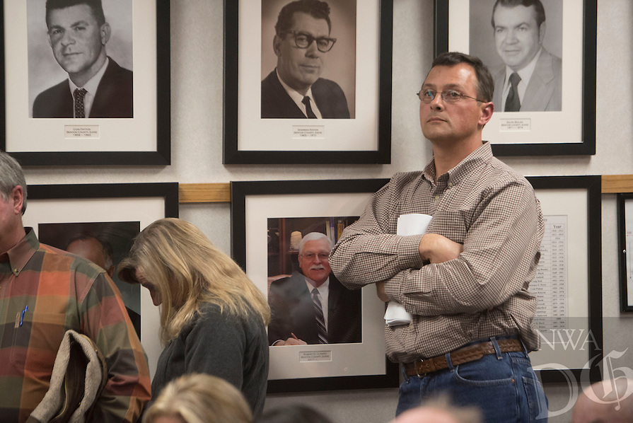 NWA Democrat-Gazette/J.T. WAMPLER Perry Chupp listens to public input Wednesday Feb. 17, 2016 to the Benton County Planning Commission about a proposed boat and RV storage facility. Chupp is the owner of the land and project in question.
