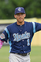 Corpus Christi Hooks shortstop Carlos Correa (1) warms up before the Texas League baseball game against the San Antonio Missions on May 10, 2015 at Nelson Wolff Stadium in San Antonio, Texas. The Missions defeated the Hooks 6-5. (Andrew Woolley/Four Seam Images)