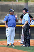 Miami-Dade Sharks head coach Danny Price argues a call during a game against Brevard County at Miami-Dade Community College on March 26, 2011 in Miami, Florida.  Photo By Mike Janes/Four Seam Images