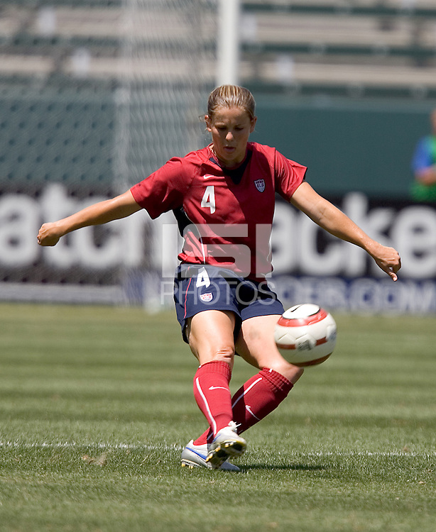 Cat Reddick kicks the ball forward. The USA defeated Iceland, 3-0, at the Home Depot Center in Carson, CA on July 24, 2005.