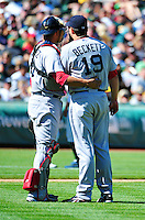 Sept. 12, 2010 - Oakland California, U.S. - Boston Red Sox catcher Victor Martinez talks with pitcher Josh Beckett during their game against the Oakland Athletics at the Oakland Coliseum Saturday Sept. 12,  2010. The Red Sox won the Game 5-3. (Photo by Alan Greth)