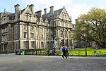 Graduates Memorial building and Provost Salmon statue, Trinity College university, city of Dublin, Ireland, Irish Republic
