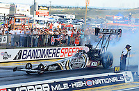 Jul, 20, 2012; Morrison, CO, USA: NHRA top fuel dragster driver Shawn Langdon during qualifying for the Mile High Nationals at Bandimere Speedway. Mandatory Credit: Mark J. Rebilas-