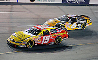 May 1, 2009; Richmond, VA, USA; NASCAR Nationwide Series driver Michael Annett (15) leads Erik Darnell (6) during the Lipton Tea 250 at the Richmond International Raceway. Mandatory Credit: Mark J. Rebilas-