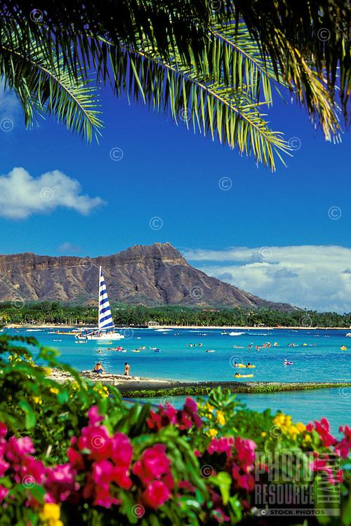 Beautiful Diamond Head is one of Hawaii's most recognizable landmarks. Oahu.