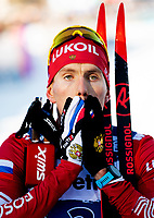 1st January 2020, Toblach, South Tyrol , Italy;  Sergey Ustiugov of Russia celebrates his victory after the mens 15 km classic technique pursuit during Tour de Ski on January 1, 2020 in Toblach. Photo: Mathias Bergeld / BILDBYRAN / Cop 200 bbeng skidor cross-country skiing langrenn world cup tour de ski tour de ski 2019/2020 Klassisk Classic jaktstart pursuit *** 200101 Sergey Ustiugov of Russia celebrates his victory after the mens 15 km classic technique pursuit during Tour de Ski on January 1, 2020 in Toblach Photo Mathias Bergeld BILDBYRAN Cop 200 bbeng skidor cross country skiing langrenn world cup tour de ski tour de ski 2019 2020 Klassisk Classic jaktstart pursuit,