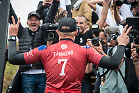 BELLS BEACH, Torquay, Victoria, Australia    (Thursday, April 5, 2018) Mick Fanning (AUS) - The Rip Curl Pro Bells Beach, Stop No. 2 on the World Surf League (WSL) Championship Tour (CT), wrapped up today with some solid clean 2m waves coming through Bells on the incoming tide.<br /> Italo Ferreira (BRA) could not have chosen a more dramatic context in which to earn his first-ever Championship Tour event win. Thursday afternoon at the Rip Curl Pro Bells Beach, the electric Brazilian defeated the man of the hour, three-time World Champion Mick Fanning (AUS), whose impending retirement after Bells added a bittersweet weight to the proceedings. <br /> <br /> <br /> But when the two paddled out for what would be a first for one of them, and a last for the other, none of that mattered to Ferreira. Instead, he showcased what he is capable of, and made his first serious step toward joining a World Title conversation.<br /> <br /> Plus, if you're going to win your first CT event, taking home the most coveted trophy in surfing isn't a bad way to go about it. Add Mick Fanning to the mix and it's even sweeter.<br /> <br /> &quot;I can't believe it,&quot; said Ferreira. &quot;It's just amazing. Mick Fanning is a hero to me. He's inspired me every single day, at every single competition. Remember his movie 3 Degrees? I've seen that 2000 times.&quot; <br /> <br /> Six-time World Champion Stephanie Gilmore (AUS)  took a step toward winning a seventh Title Thursday when she won the Rip Curl Women's Pro Bells Beach. She also became one of just a few surfers -- Mark Richards, Kelly Slater and Mick Fanning among them -- to ring the winner's bell an incredible fourth time. Photo: joliphotos.com
