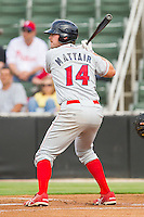 Travis Mattair #14 of the Lakewood BlueClaws at bat against the Kannapolis Intimidators at Fieldcrest Cannon Stadium on July 16, 2011 in Kannapolis, North Carolina.  The Intimidators defeated the BlueClaws 5-3.   (Brian Westerholt / Four Seam Images)