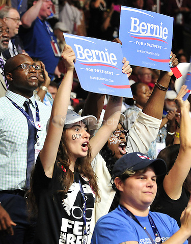 Bernie Sanders supporters in the Delaware delegation at the 2016 Democratic National Convention held at the Wells Fargo Center in Philadelphia, Pennsylvania on Saturday, July 23, 2016.<br /> Credit: Ron Sachs / CNP/MediaPunch<br /> (RESTRICTION: NO New York or New Jersey Newspapers or newspapers within a 75 mile radius of New York City)