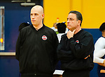WATERBURY,  CT-011520JS12- Boys basketball referees Ryan Wodarski, left, and Ray Vanacore, look on as players warm prior to the game between Kennedy and Crosby Wednesday at Kennedy High School. Area schools are taking part in official appreciation week to thank those who officiate games. <br />  <br /> Jim Shannon Republican-American
