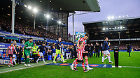 Lincoln City's Lee Frecklington leads his side out ahead of the game<br /> <br /> Photographer Chris Vaughan/CameraSport<br /> <br /> Emirates FA Cup Third Round - Everton v Lincoln City - Saturday 5th January 2019 - Goodison Park - Liverpool<br />  <br /> World Copyright &copy; 2019 CameraSport. All rights reserved. 43 Linden Ave. Countesthorpe. Leicester. England. LE8 5PG - Tel: +44 (0) 116 277 4147 - admin@camerasport.com - www.camerasport.com
