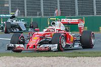 March 20, 2016: Kimi Raikkonen (FIN) #7 from the Scuderia Ferrari team at turn one of the 2016 Australian Formula One Grand Prix at Albert Park, Melbourne, Australia. Photo Sydney Low