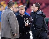 "Pete Souris, Don ""Toot"" Cahoon (UMass - Head Coach), Kevin Sneddon (Vermont - Head Coach) - The University of Massachusetts (Amherst) Minutemen defeated the University of Vermont Catamounts 3-2 in overtime on Saturday, January 7, 2012, at Fenway Park in Boston, Massachusetts."