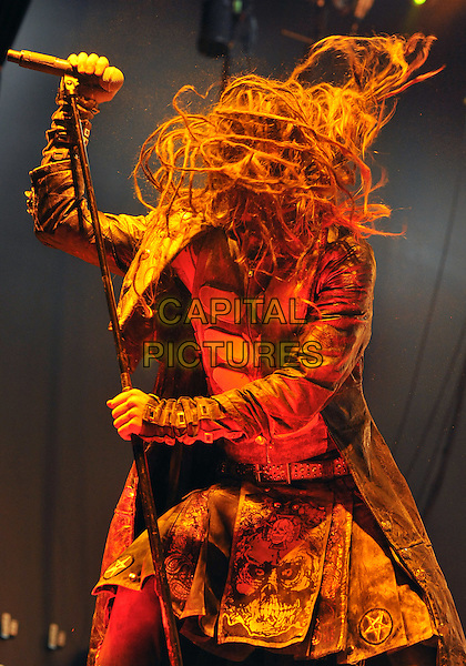 "Vocalist ROB ZOMBIE performs on a stop on his ""Hell On Earth Tour 2011"" held at the Stage AE, Pittsburgh, PA, USA..July 23rd, 2011                               .stage concert live gig performance music half length black leather jacket beard facial hair dreadlocks hair headbanging .CAP/ADM/JN.©Jason L Nelson/AdMedia/Capital Pictures."