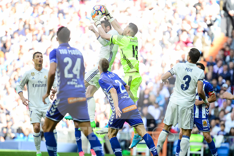 Real Madrid's Gareth Bale and Kiko Casilla during La Liga match between Real Madrid and Deportivo Alaves at Stadium Santiago Bernabeu in Madrid, Spain. April 02, 2017. (ALTERPHOTOS/BorjaB.Hojas)