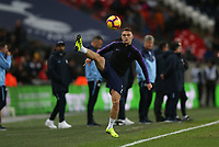 Kieran Trippier of Tottenham Hotspur takes a ball down during the warm up of Tottenham Hotspur vs Manchester City, Premier League Football at Wembley Stadium on 29th October 2018
