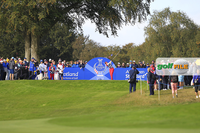 Annie Park of Team USA on the 7th tee during Day 1 Foursomes at the Solheim Cup 2019, Gleneagles Golf CLub, Auchterarder, Perthshire, Scotland. 13/09/2019.<br /> Picture Thos Caffrey / Golffile.ie<br /> <br /> All photo usage must carry mandatory copyright credit (© Golffile   Thos Caffrey)