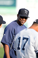 Tampa Yankees coach Marcus Thames #36 before a game against the Dunedin Blue Jays on April 11, 2013 at Florida Auto Exchange Stadium in Dunedin, Florida.  Dunedin defeated Tampa 3-2 in 11 innings.  (Mike Janes/Four Seam Images)