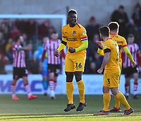 Northampton Town's Aaron Pierre celebrates scoring his side's equalising goal to make the score  1-1<br /> <br /> Photographer Andrew Vaughan/CameraSport<br /> <br /> The EFL Sky Bet League Two - Lincoln City v Northampton Town - Saturday 9th February 2019 - Sincil Bank - Lincoln<br /> <br /> World Copyright &copy; 2019 CameraSport. All rights reserved. 43 Linden Ave. Countesthorpe. Leicester. England. LE8 5PG - Tel: +44 (0) 116 277 4147 - admin@camerasport.com - www.camerasport.com