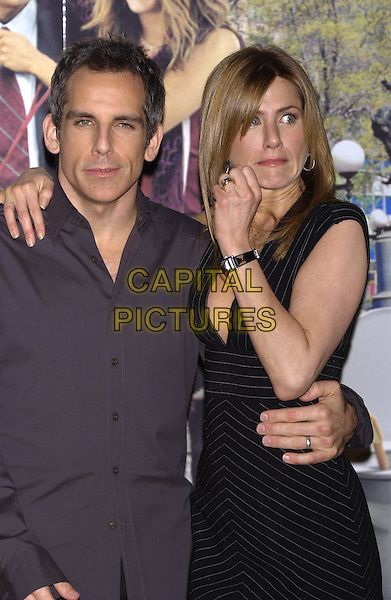 "BEN STILLER & JENNIFER ANISTON.Photocall""Along Came Polly"".Mandarin Oriental Hotel, Knightsbridge.London 18 February 2004.funny face.www.capitalpictures.com.sales@capitalpictures.com.©Capital Pictures."