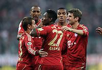 Fussball DFB Pokal:  Saison   2011/2012  2. Runde  26.10.2011 FC Bayern Muenchen - FC Ingolstadt 04 Jubel nach dem Tor zum 2:0 David Alaba , Thomas Mueller (v. li., FC Bayern Muenchen)