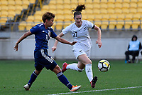 Japan&rsquo;s Mina Tanaka and Ferns' Stephanie Skilton in action during the  International Football - Football Ferns v Japan  at Westpac Stadium, Wellington, New Zealand on Sunday 10 June 2018.<br /> Photo by Masanori Udagawa. <br /> www.photowellington.photoshelter.com