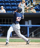 Connecticut Tigers infielder Dominic Ficociello (55) hits a home run during game against the Staten Island Yankees at Richmond County Bank Ballpark at St.George on July 7, 2013 in Staten Island, NY.  Staten Island defeated Connecticut 6-2.  (Tomasso DeRosa/Four Seam Images)