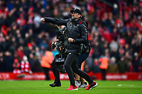 Liverpool manager Jurgen Klopp celebrates at the end of the match<br /> <br /> Photographer Richard Martin-Roberts/CameraSport<br /> <br /> The Premier League - Liverpool v Chelsea - Sunday 14th April 2019 - Anfield - Liverpool<br /> <br /> World Copyright © 2019 CameraSport. All rights reserved. 43 Linden Ave. Countesthorpe. Leicester. England. LE8 5PG - Tel: +44 (0) 116 277 4147 - admin@camerasport.com - www.camerasport.com