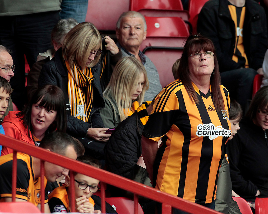 Hull City fans before kick off<br /> <br /> Photographer David Shipman/CameraSport<br /> <br /> Football - The Football League Sky Bet Championship - Nottingham Forest v Hull City - Saturday 3rd October 2015 - The City Ground - Nottingham<br /> <br /> &copy; CameraSport - 43 Linden Ave. Countesthorpe. Leicester. England. LE8 5PG - Tel: +44 (0) 116 277 4147 - admin@camerasport.com - www.camerasport.com