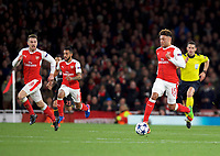 Alex Oxlade-chamberlain of Arsenal on the ball during the UEFA Champions League round of 16 match between Arsenal and Bayern Munich at the Emirates Stadium, London, England on 7 March 2017. Photo by Alan  Stanford / PRiME Media Images.