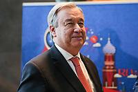 NOVA YORK, EUA, 01.06.2018 - ONU-RUSSIA - António Guterres Secretário-Geral das Organização das Nações Unidas  durante evento de apresentação da Copa do Mundo de 2018 na sede das Nações Unidas em Nova York nesta sexta-feira, 01.(Foto: William Volcov/Brazil Photo Press)